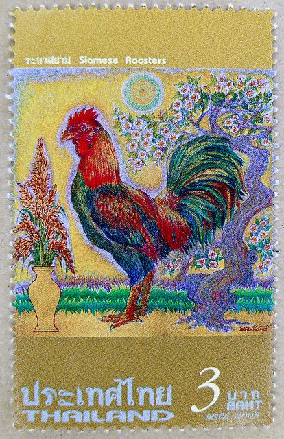 Postage Stamp Thailand 3 Baht Siamese Rooster Cock Hhner Hahn Chicken Poule Gallina Timbre Thalande Tailndia Selo Tailandia Sello Marka