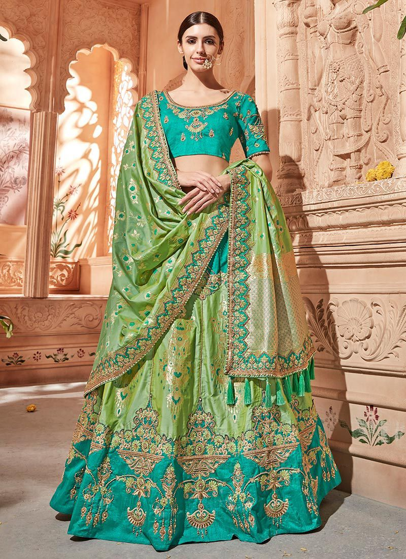 0876d44cac Buy Pista green Banarasi silk wedding lehenga choli in UK, USA and Canada