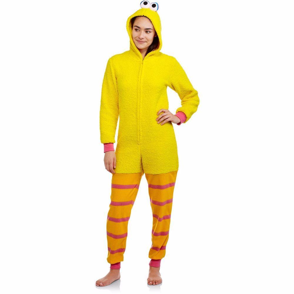 024399fa772d Womens One Piece Big Bird Costume PJs Onesie Sesame Street XS S M L XL 2X  3X…