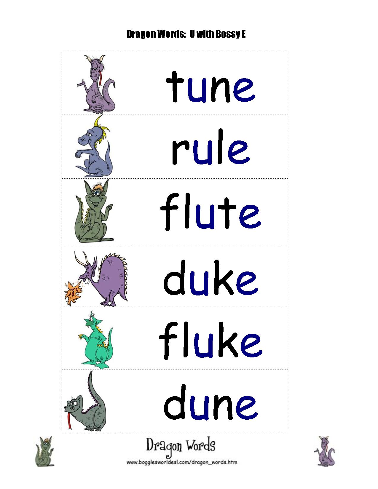 Worksheets Long U Sound Word List long u sound word list bossy e dragon words as in in