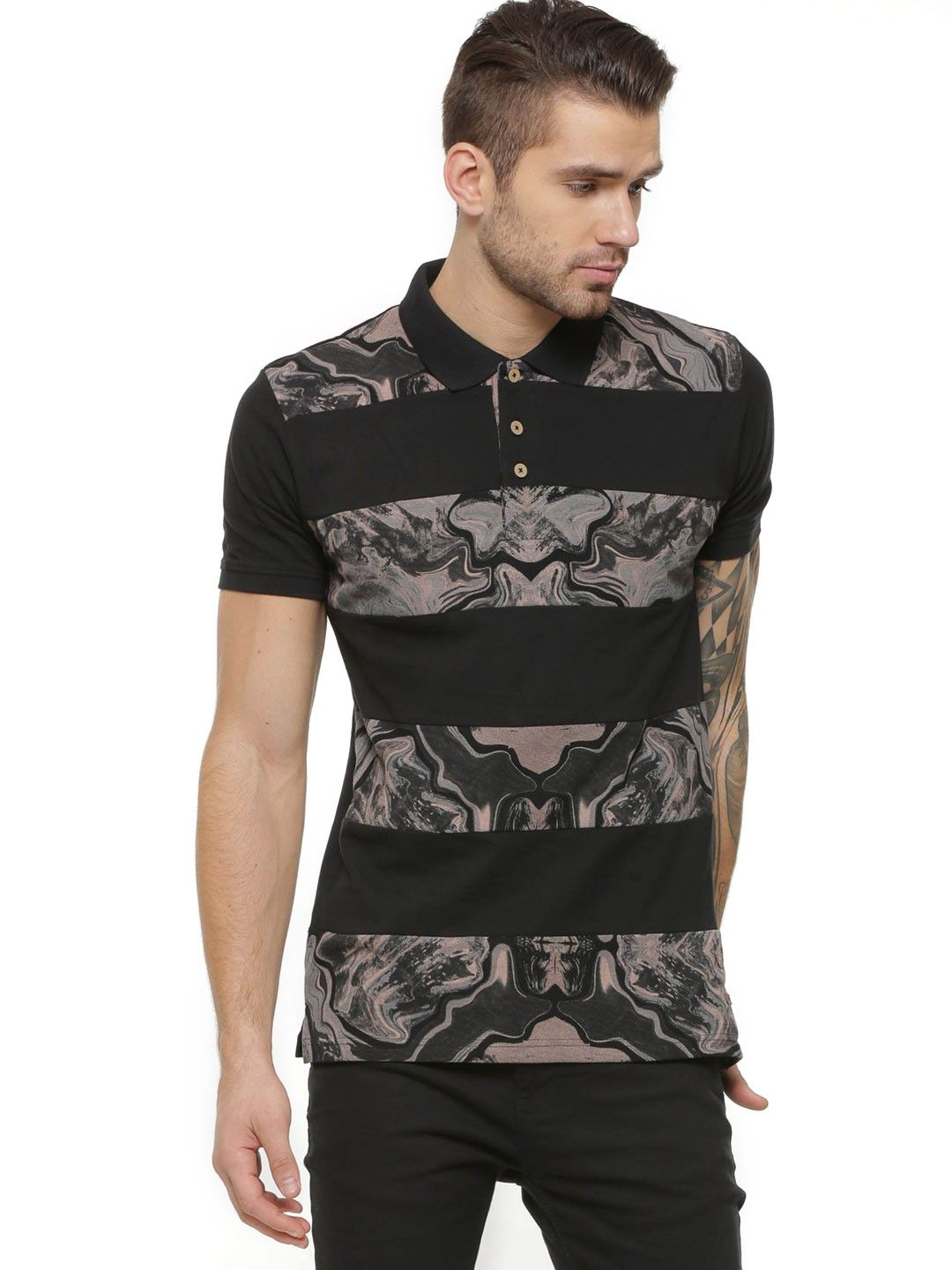 Buy Voi Jeans Printed Panel Polo In Pique Fabric For Men Mens