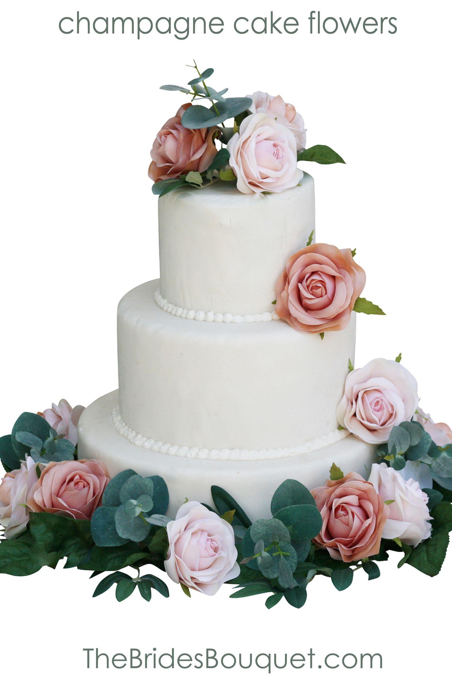 Champagne Taupe Blush Wedding Cake Flowers Decorations
