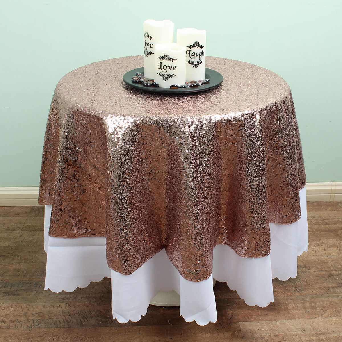 48 Inch Gold / Silver / Champagne Round Sequin TableCloths Overlay Glitter  Table Covers Sparkly Bling Wedding Party Decoration In Tablecloths From  Home ...