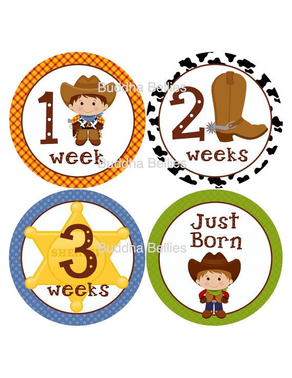 Bought these to use for Wyatt...LOVE how these look in person!!! Cowboy Baby FIRST MONTH Stickers...by BuddhaBellies