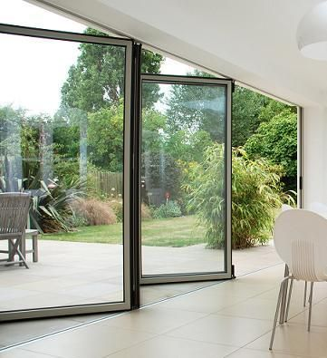 Modern floor to ceiling operable window w transom and for Floor to ceiling folding glass doors