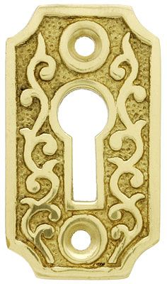 Solid Brass Scroll Keyhole Cover Keyhole Covers Antique