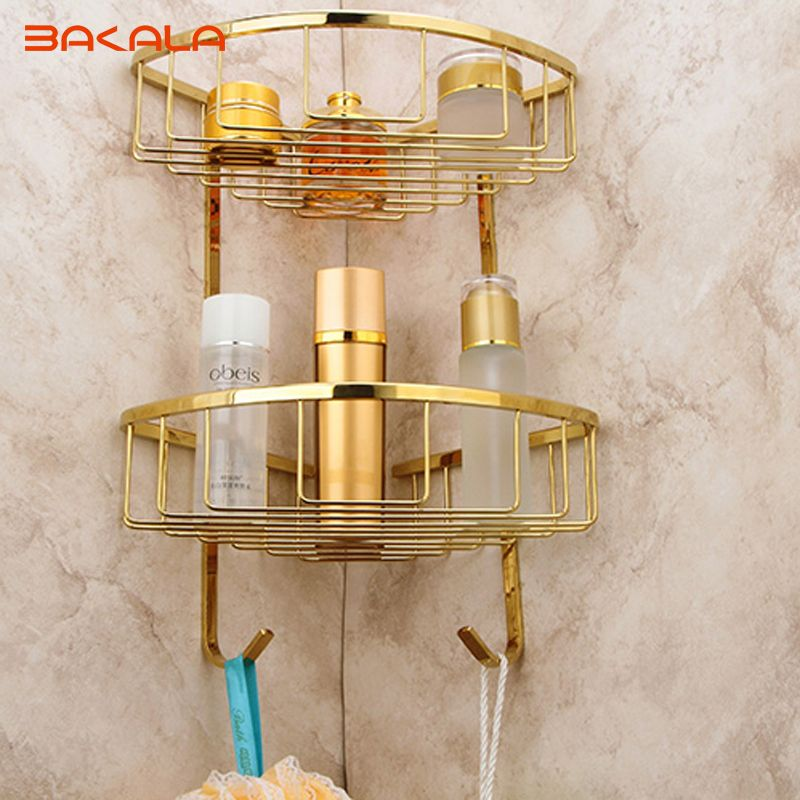Bakala Golden Finish Decoration Metal Bathroom Accessories Br Double Layer Rack 6705