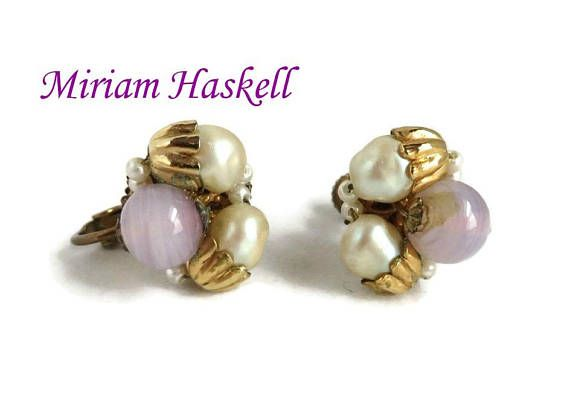 f67999dad Miriam Haskell Earrings Heres a wonderful pair of Vintage, signed Miriam  Haskell clip-on, screw back earrings. These are clusters with two faux  pearls, ...