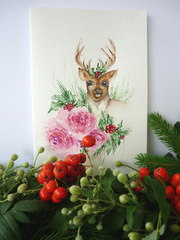Handpainted Christmas card, Happy new year card, Handmade