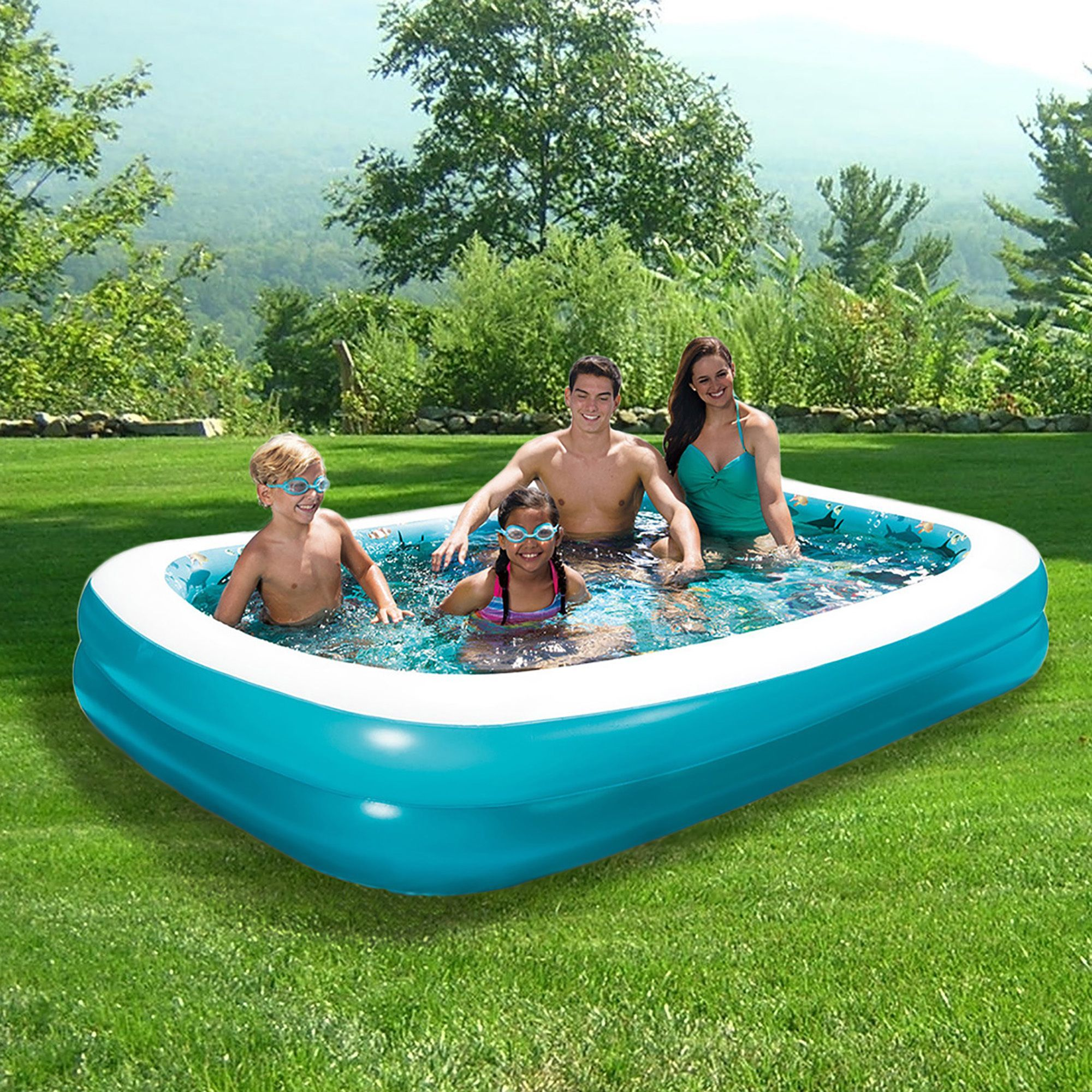 Inflatable Rectangular Family Pool In X In By Blue