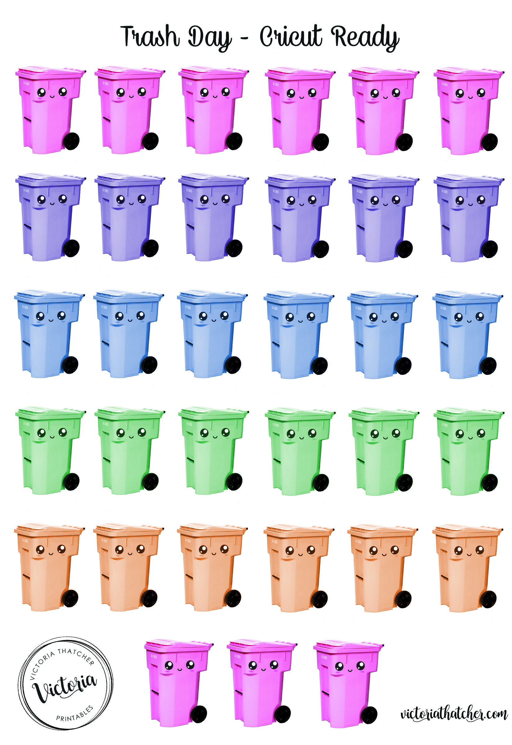 Free Printable Trash Recycling Bin Planner Stickers From Victoria Thatcher