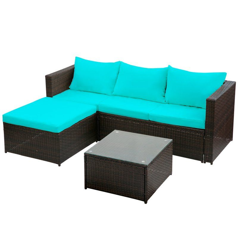 Courson 3 Piece Sofa Seating Group With Cushions Sectional Patio