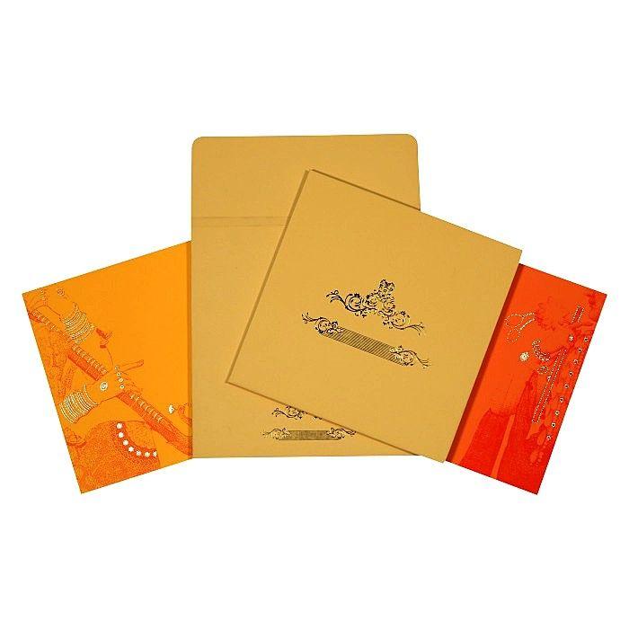 Designer Wedding Cards - AD-1665 #ThemeCards #DesignerWeddingInvitations #WeddingCards #WeddingInvitations #NewArrivals #LatestWeddingInvitations #IndianWeddingInvitations #A2zWeddingCards #HInduWeddingCards #YellowWeddingCards #Red #Invitations #Online
