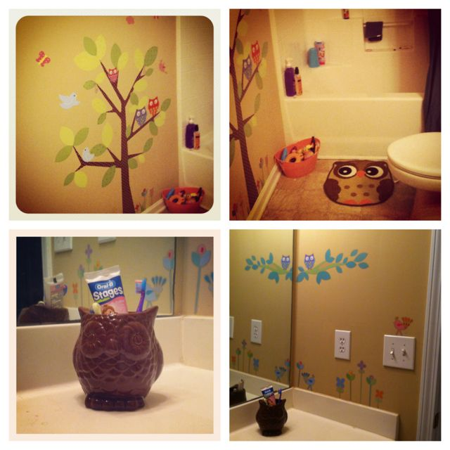 Owl Bathroom--$39 From Target: $19.99 Kids Tree Wall Decals, $9.99 Owls Wall Decal, $2.50 Owl