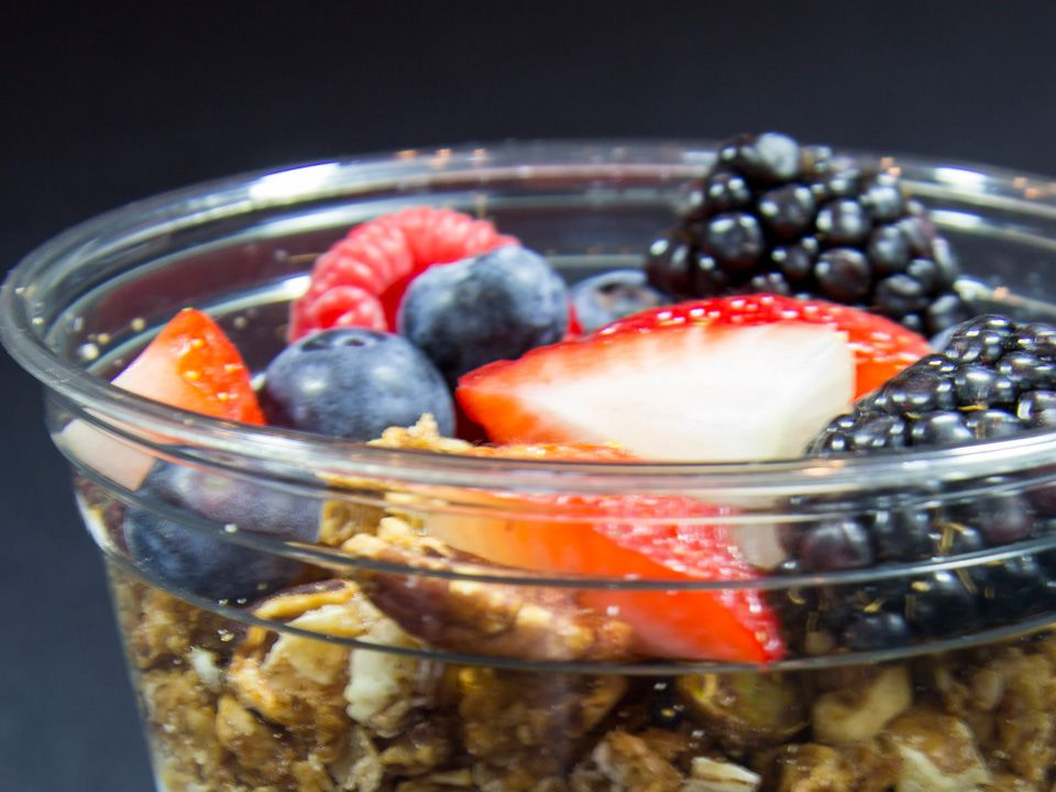 A fresh Yogurt Parfait is a must at your company's morning meeting!