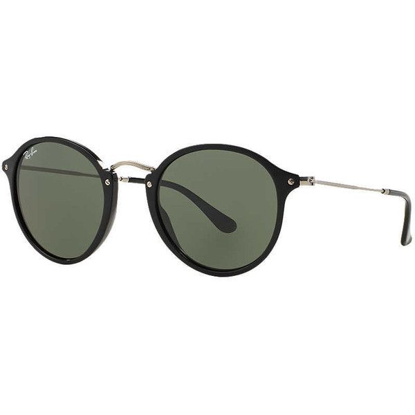 cd63535960 Ray-Ban Rb2447 49 Black Round Sunglasses ( 165) ❤ liked on Polyvore  featuring accessories