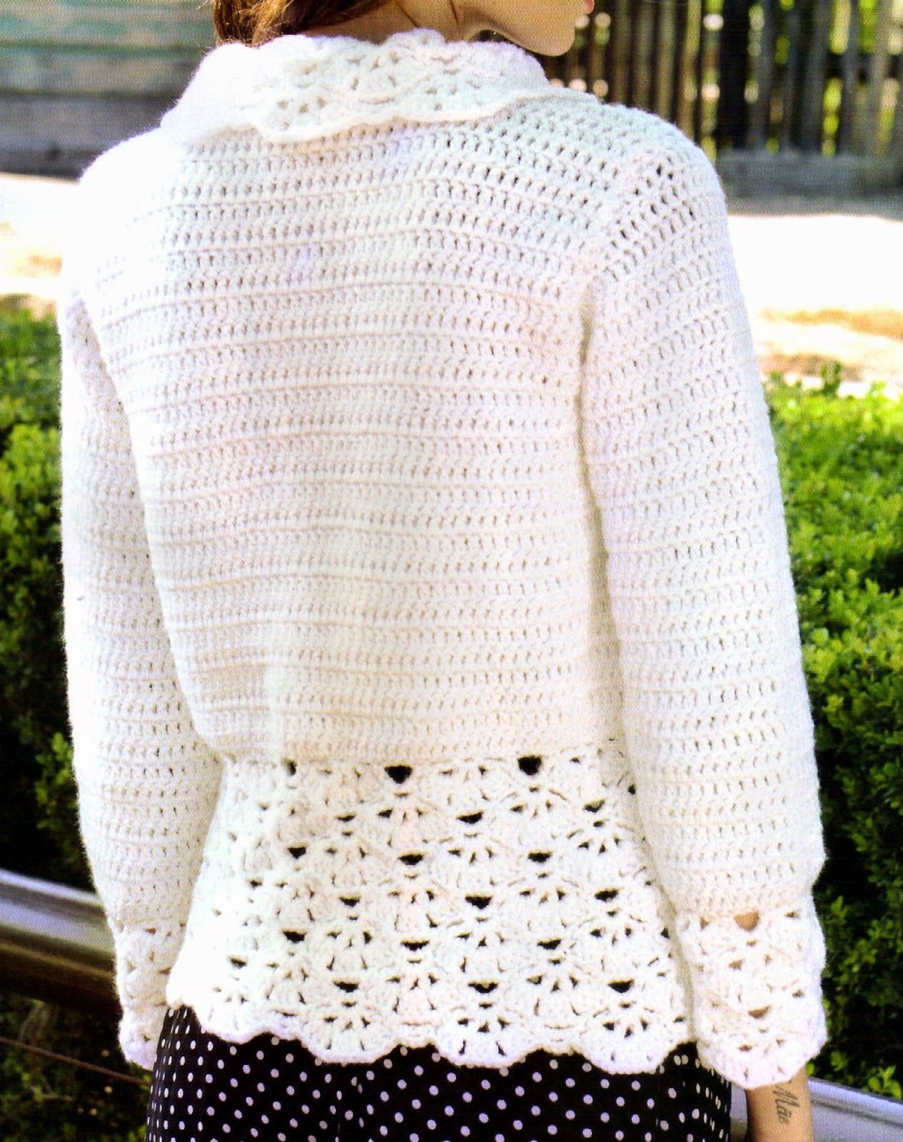 saco tejido en crochet con un bonito detalle (espalda) | TEJIDOS CON ...