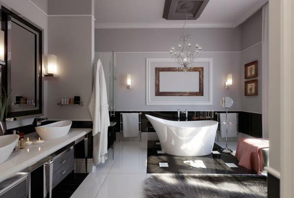 salle de bains grise, baignoire blanche asymétrique, deux vasques à poser