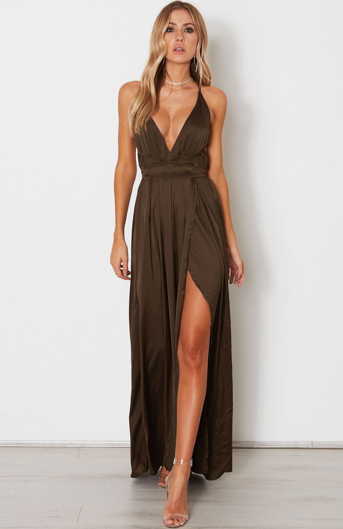 fdc772914d74b Akela Maxi Dress Khaki | Dresses - White Fox | Open back maxi dress ...