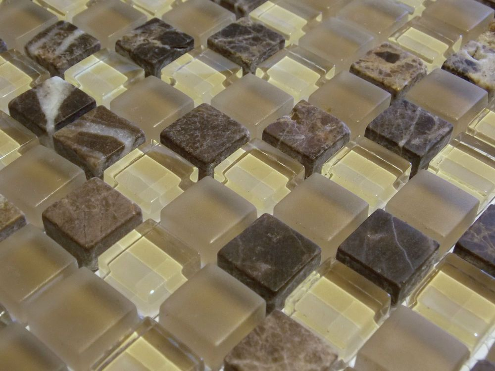 Glasmosaik Naturstein Marmor Fliesen Beige Sand Braun Mocca Mosaik Bad  FTHDA001 | EBay