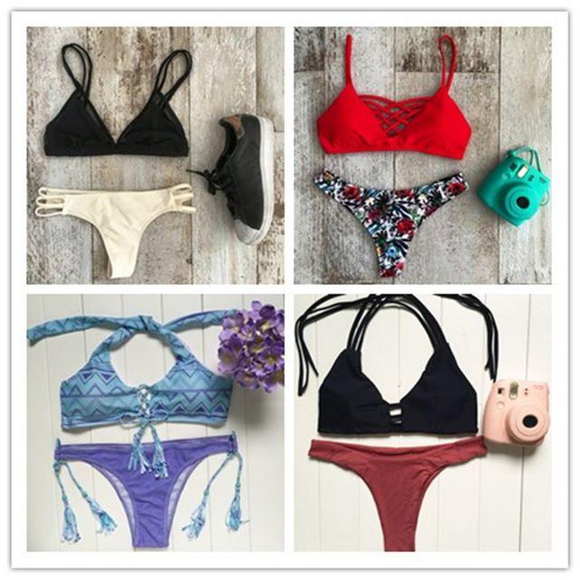 2016 Verano Nuevo Brasileño Bikini Set Las Mujeres del traje de Baño femenino Atractivo Empuja Hacia Arriba Neopreno Biqiuni Trikini Beach Swimsuit Bathing Suit