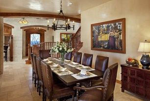 Mediterranean Dining Room With Quality Stone Company Thin Veneer White Chandelier Lights Of