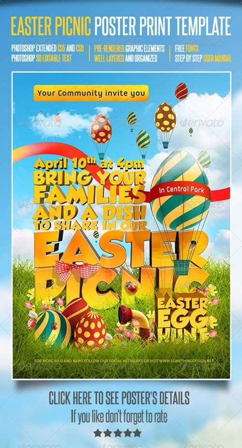 Easter Picnic Poster Print Template Photoshop PSD - Beautiful