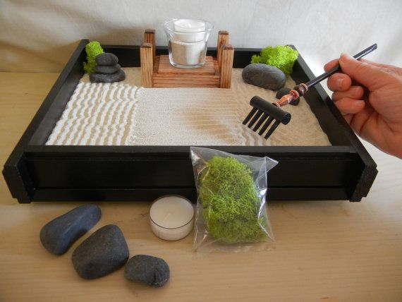 M 02 Medium Desk Or Table Top Zen Garden With Solid Oak Candle Stand   DIY  Kit