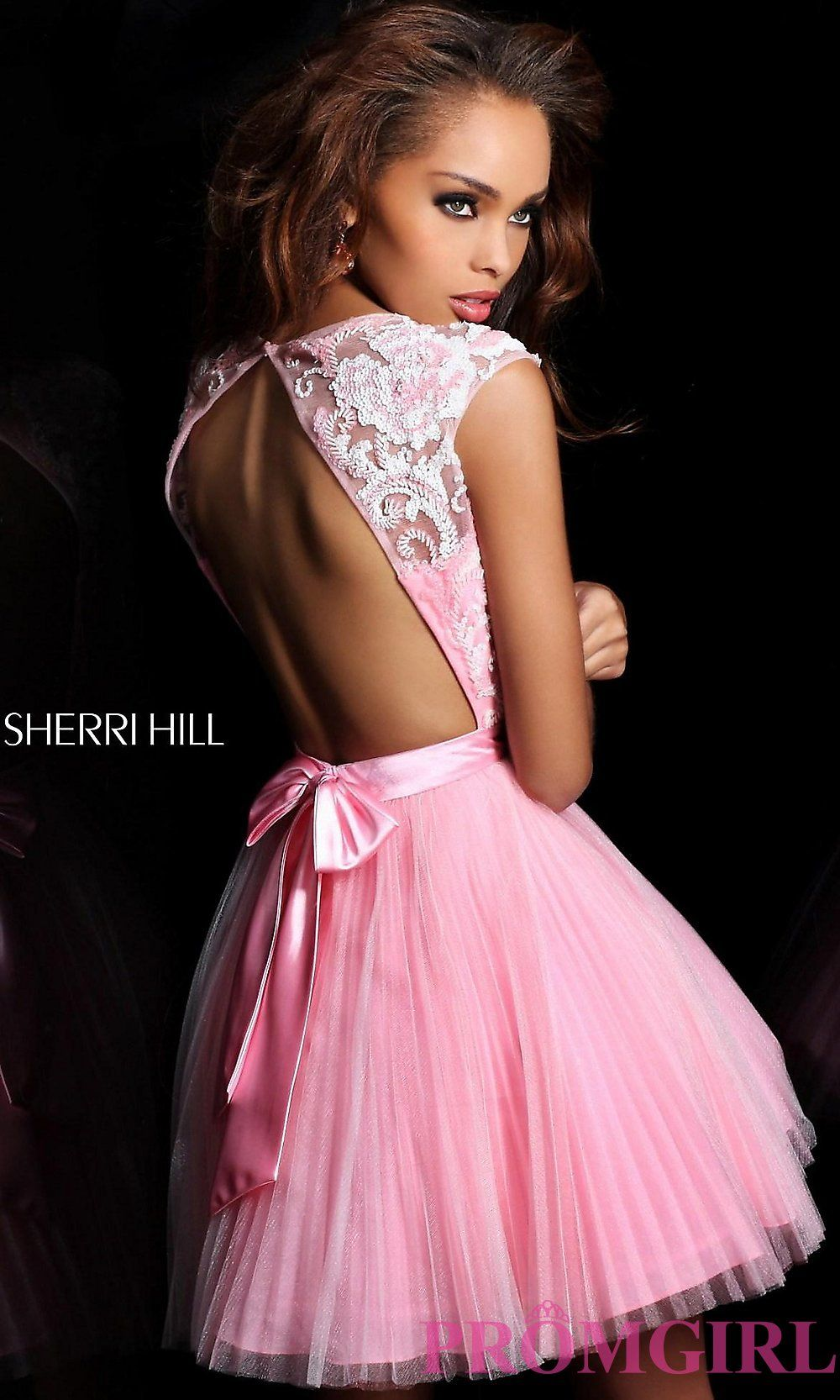 Image of short cap sleeve open back dress style sh back image