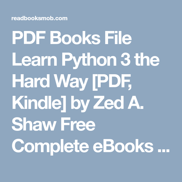 Pdf Books File Learn Python 3 The Hard Way Pdf Kindle By Zed A