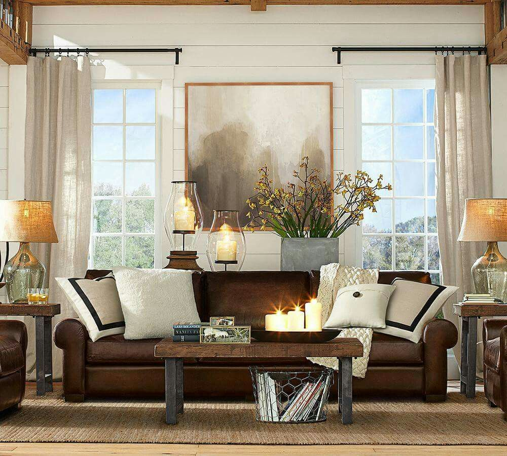 Pottery Barn Window Treatment Brown Leather Sofa Living Room Decor Couch