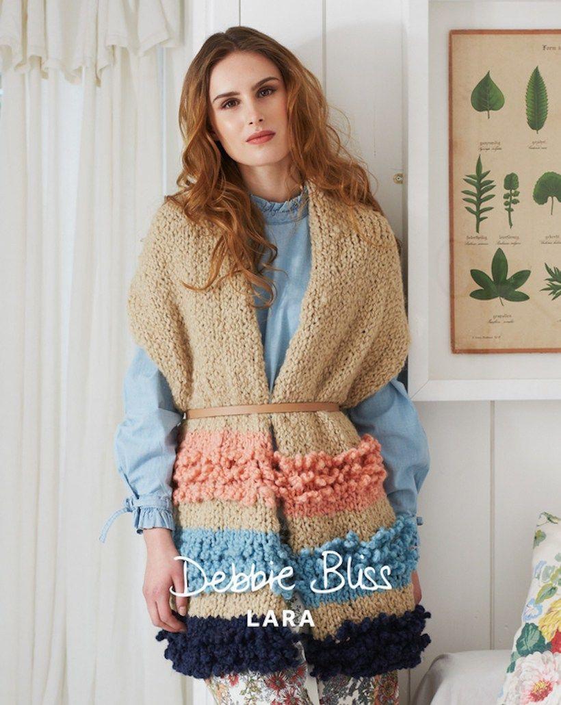 beautiful loop knit striped stole in debbie bliss lara yarn