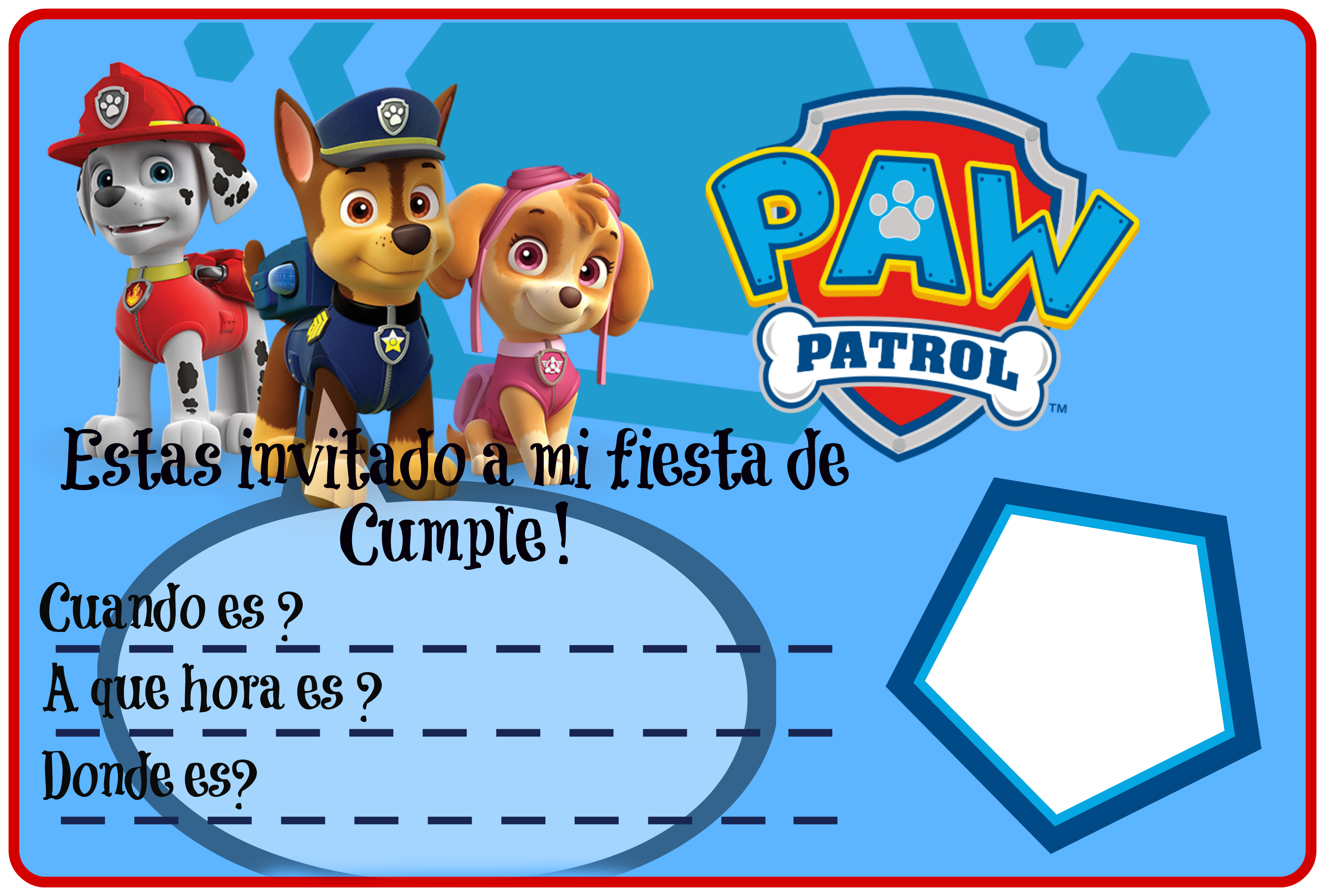 Invitación De Cumple Invitacion Cumpleaños Patrulla Canina Tarjetas De Cumpleaños Para Imprimir Hacer Invitaciones De Cumpleaños
