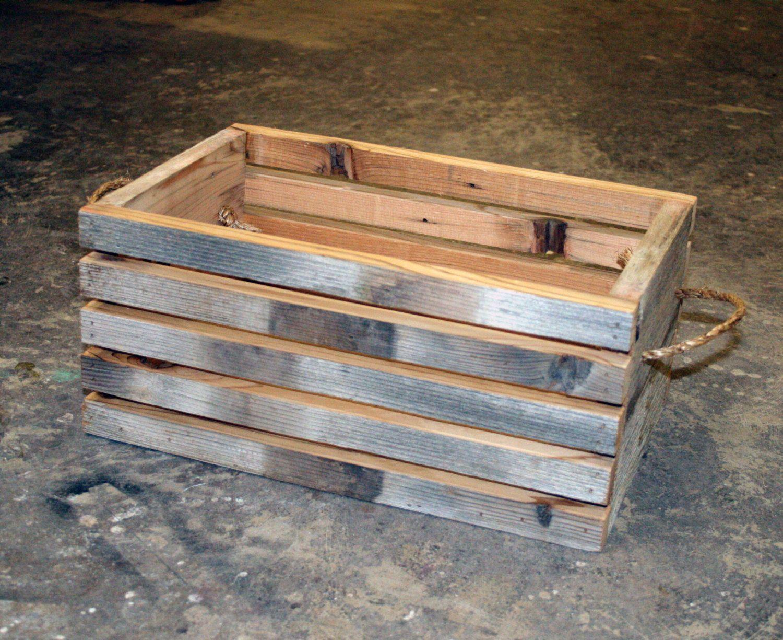 Barn Wood Slat Crate 12 X 8 X 6 Rope Handles Barn Wood Wood Crates Small Wood Projects