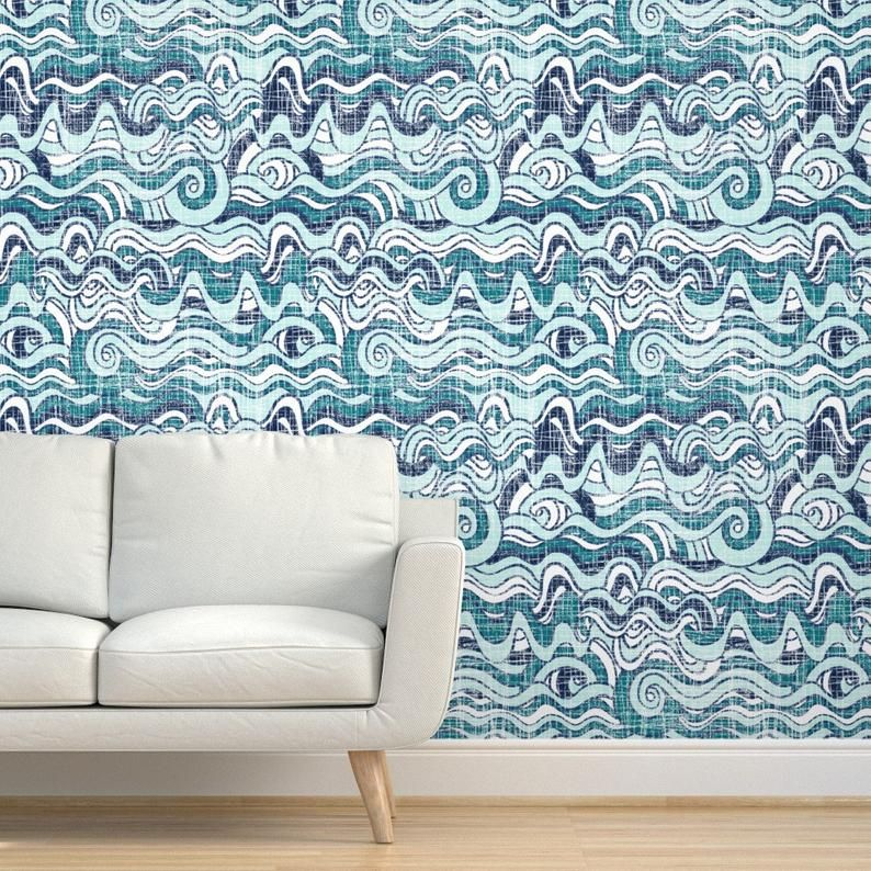 Nautical Waves Wallpaper Wavy Waves By Mrshervi Nautical Etsy Waves Wallpaper Wallpaper Peel And Stick Wallpaper