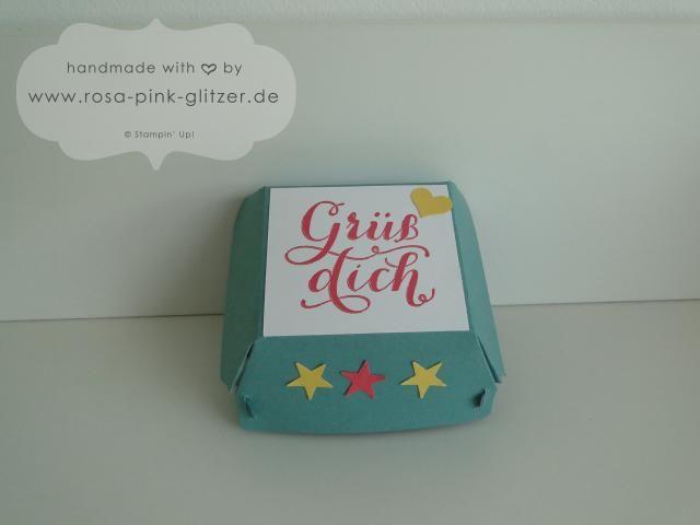 www.rosa-pink-glitzer.de: Hamburger Box von Stampin' Up! mit dem Stempelset Grüß Dich