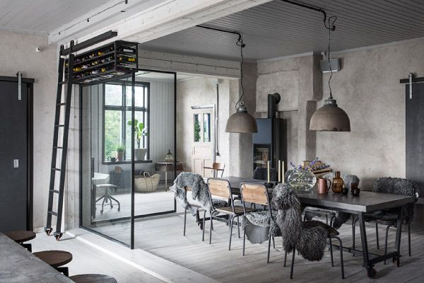 Una casa dallo stile industriale in Svezia  kitchen to living  Pinterest  Stile industriale ...