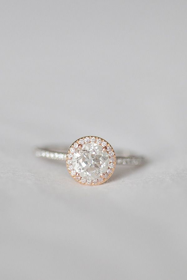 ROSE GOLD LOVE! Rose and White Gold Ring- best ring I have seen yet!!! Love the rose gold look with the white gold!!! Just square vs round.