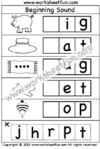 Beginning Sound - Cut and Paste Activity - 4 Worksheets ...