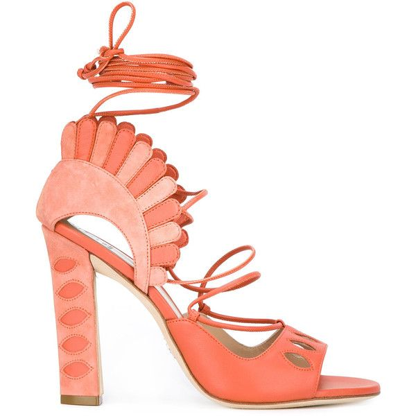 Paula Cademartori Lotus Sandals (€715) ❤ liked on Polyvore featuring shoes, sandals, heels, leather shoes, real leather shoes, heeled sandals, orange leather shoes and orange shoes