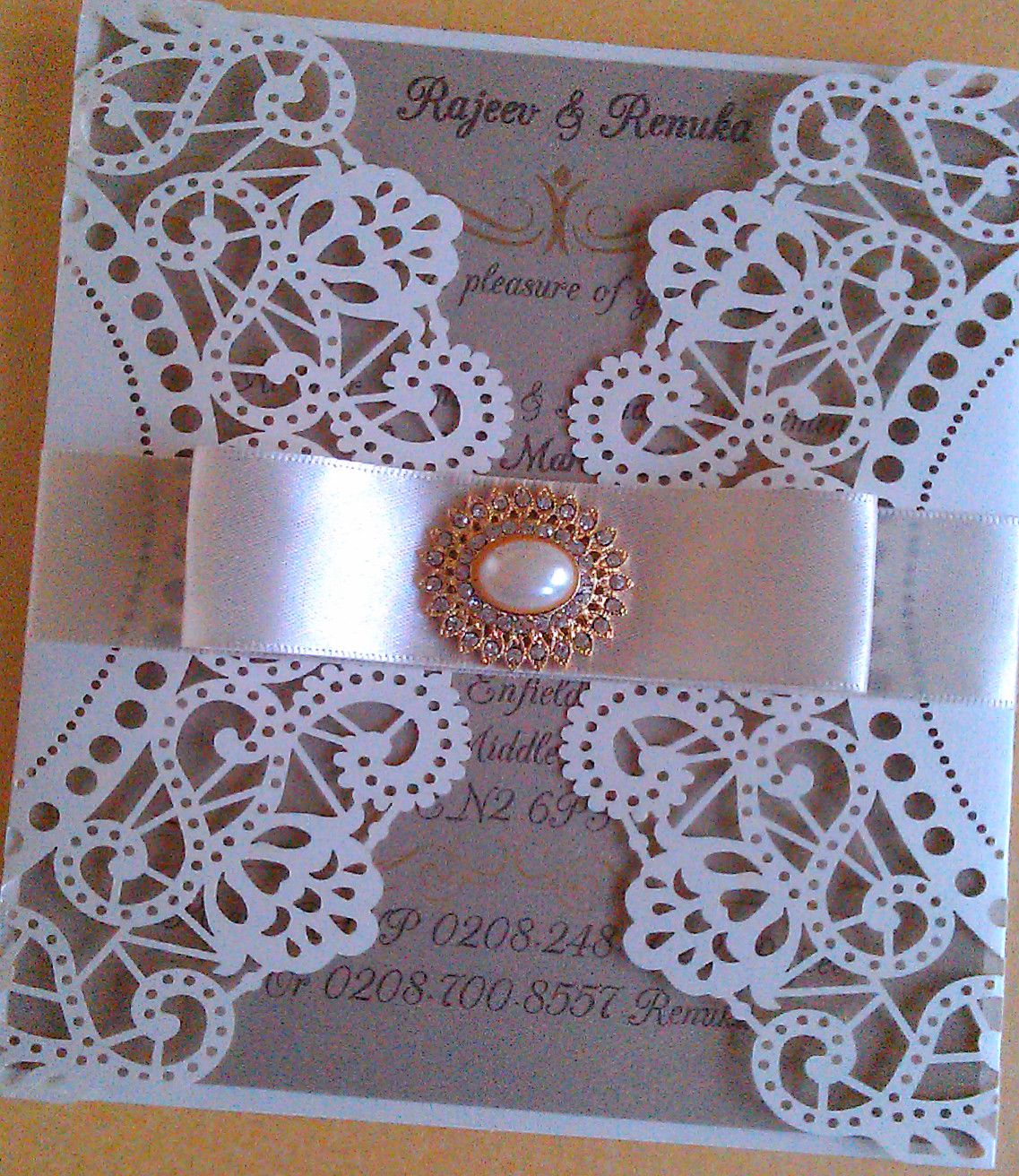 Ivory pearlescent vintage doily wedding invitation with Gold insert ...