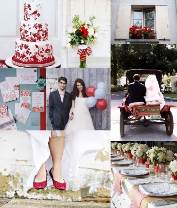 Red And Gray Silver Wedding Colors Scheme Summer Bouquet Blue