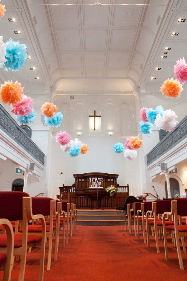 Pom Pom Weddings Paper Pom Poms As Church Decorations Wedding