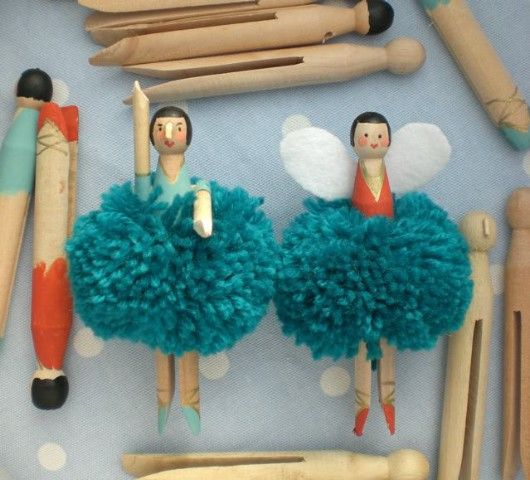 make pom pom fairies out of clothespins and yarn.