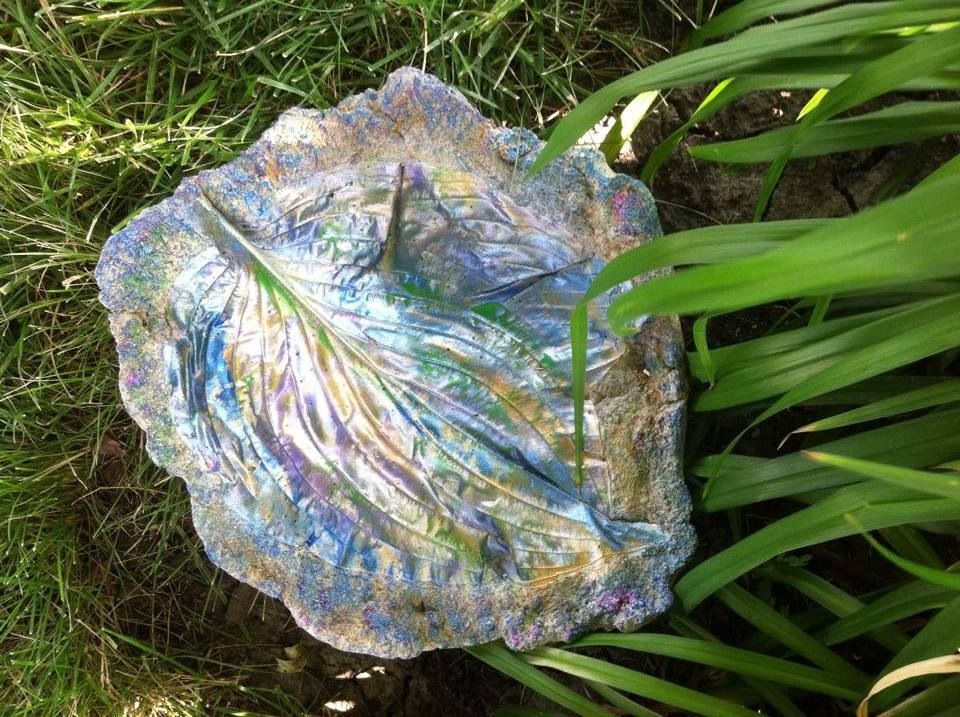 Concrete Bird Bath, Feeder, Candle Holder Or Fairy Garden Wading Pool  Handcrafted By Summerlandu0027s