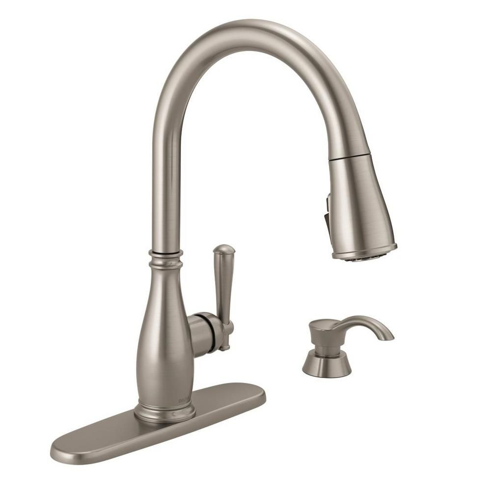 Delta Leland Single Handle Pull Down Sprayer Kitchen Faucet With Touch2o And Shieldspray Technology In Arctic Stainless 9178t Ar Dst Faucet Delta Faucets Cleaning Faucets