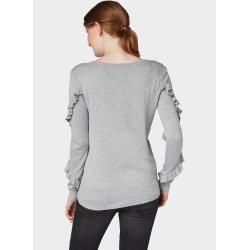 Photo of Tom Tailor Damenpullover mit Rüschen an den Ärmeln, grau, schlicht, Größe L Tom TailorTom Tailor