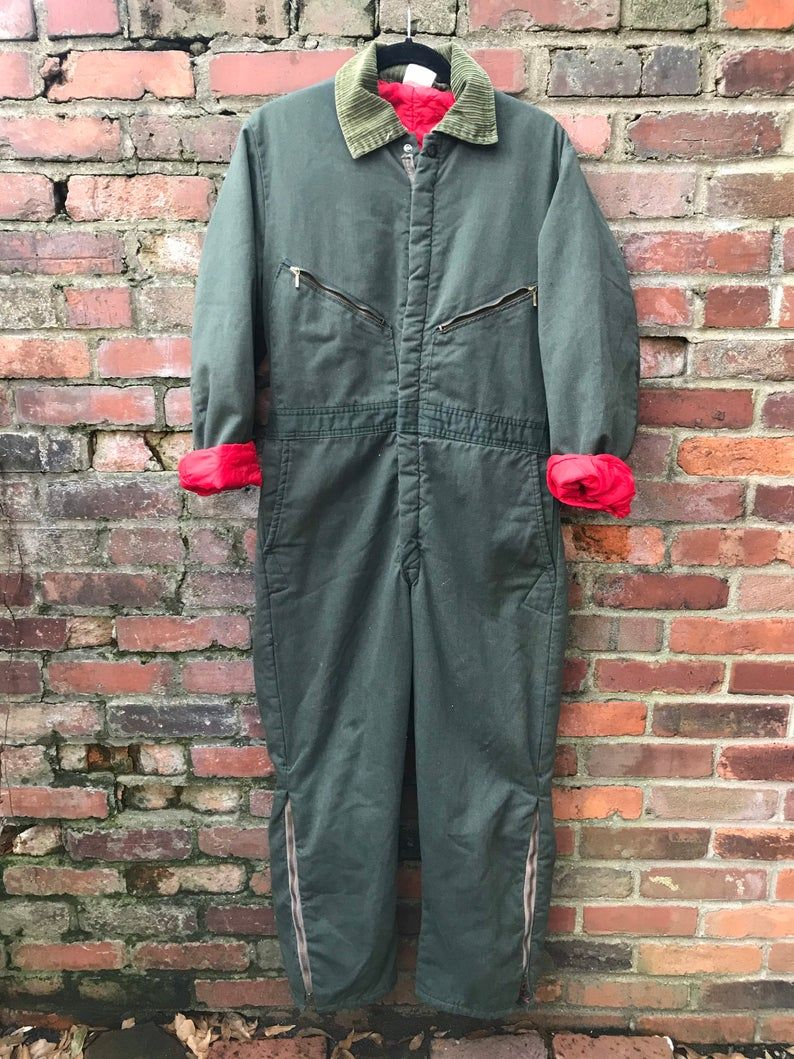 vintage 70s 80s walls master made dark green insulated on walls coveralls for men insulated id=20837
