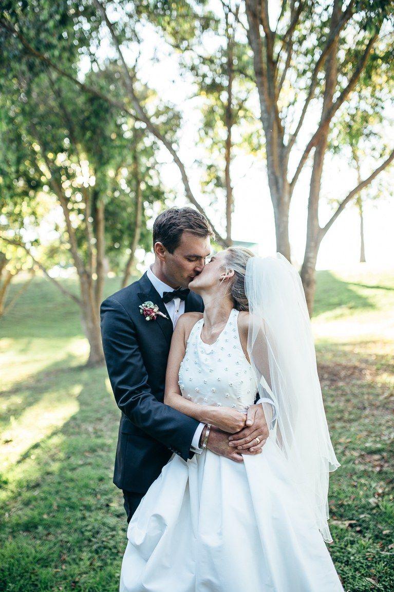 Raw silk wedding dress  A Timeless Celebration Down Under  Neckline Tops and Skirts