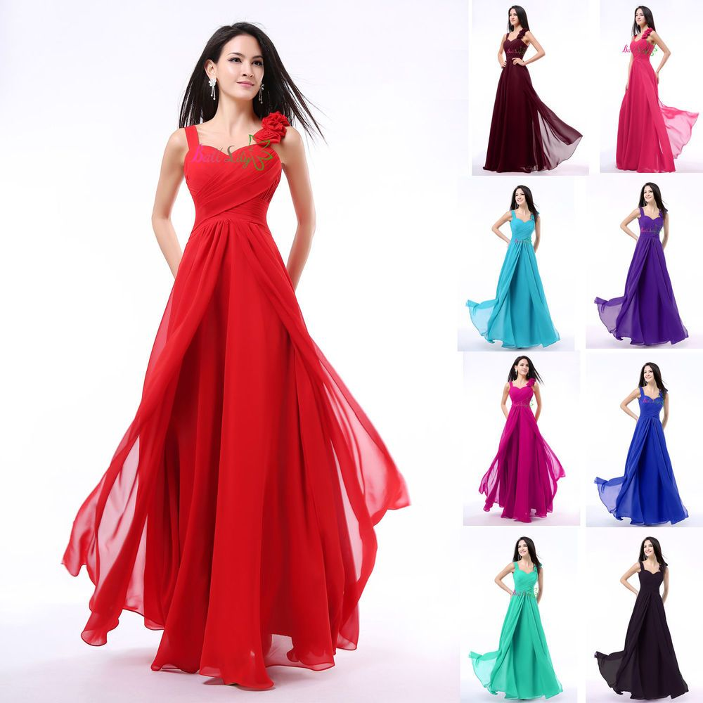 New formal long evening ball gown party prom bridesmaid dress stock